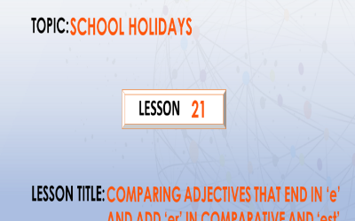 """21. Comparing adjectives that end in """"e"""" and add """"r"""" and """"st"""" In comparative and superlative degrees"""